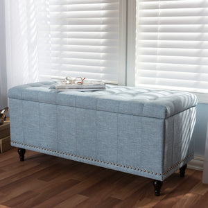 Baxton Studio Kaylee Modern Classic Light Blue Fabric Upholstered Button-Tufting Storage Ottoman Bench Baxton Studio-benches-Minimal And Modern - 1