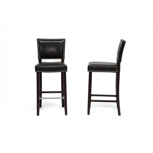 Baxton Studio Aries Black Modern Bar Stool with Nail Head Trim (Set of 2) Baxton Studio-Bar Stools-Minimal And Modern - 2