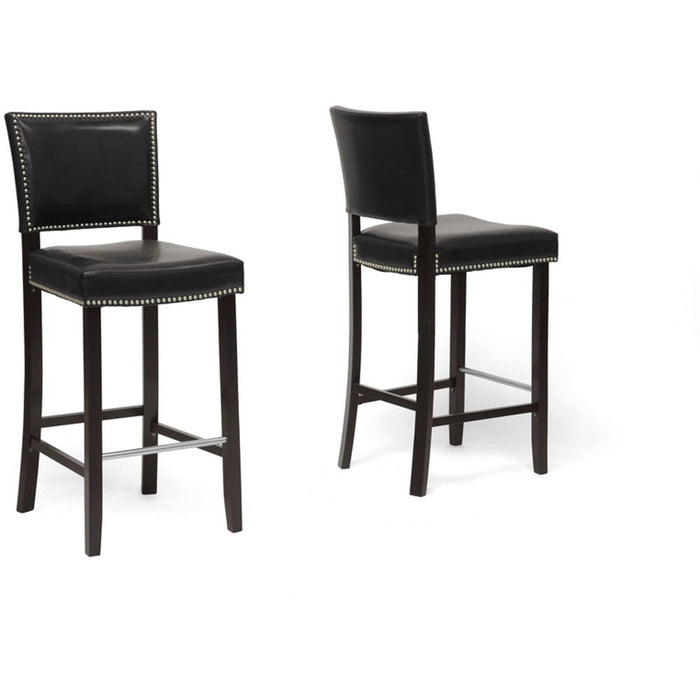 Baxton Studio Aries Black Modern Bar Stool with Nail Head Trim (Set of 2) Baxton Studio-Bar Stools-Minimal And Modern - 1