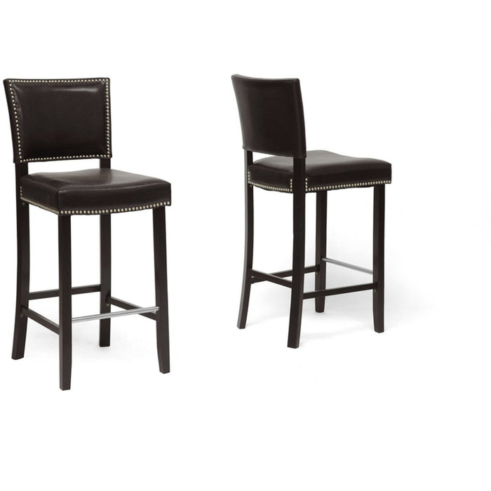 Baxton Studio Aries Dark Brown Modern Bar Stool with Nail Head Trim (Set of 2) Baxton Studio-Bar Stools-Minimal And Modern - 1