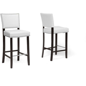 Baxton Studio Aries White Modern Bar Stool with Nail Head Trim (Set of 2) Baxton Studio-Bar Stools-Minimal And Modern - 1