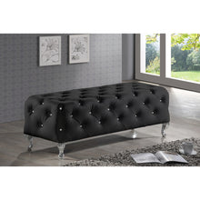 Baxton Studio Stella Crystal Tufted Black Leather Modern Bench Baxton Studio-benches-Minimal And Modern - 4
