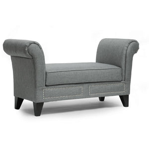 Baxton Studio Marsha Gray Linen Modern Scroll Arm Bench Baxton Studio-benches-Minimal And Modern - 1