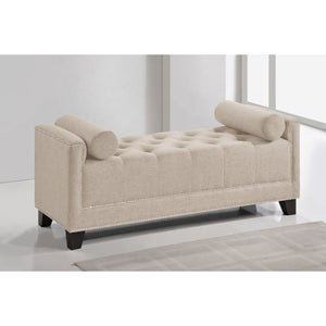 Baxton Studio Hirst Light Beige Bedroom Bench Baxton Studio-benches-Minimal And Modern - 1