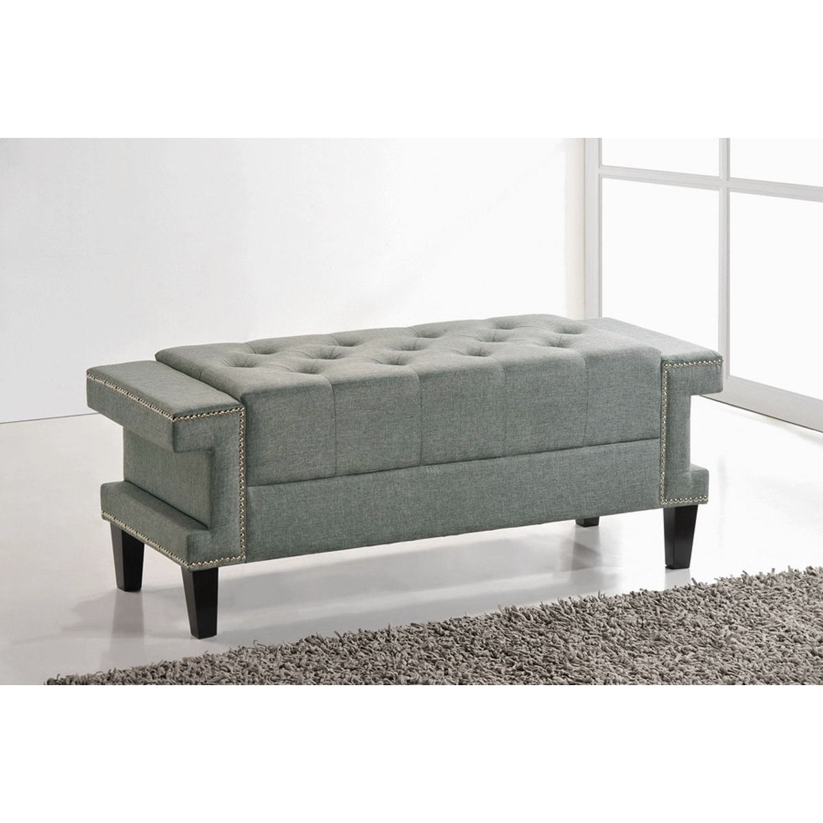 Baxton Studio Contemporary Grey Cheshire Bench Baxton Studio-benches-Minimal And Modern - 1