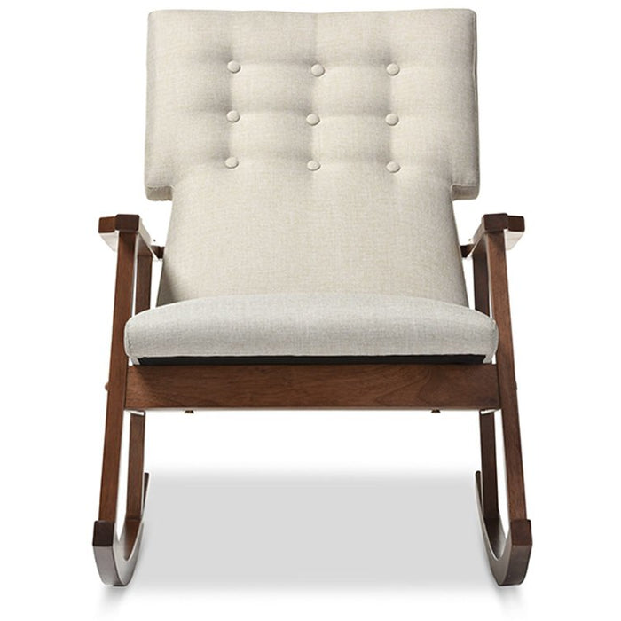 Baxton Studio Agatha Mid-century Modern Light Beige Fabric Upholstered Button-tufted Rocking Chair Baxton Studio--Minimal And Modern - 1