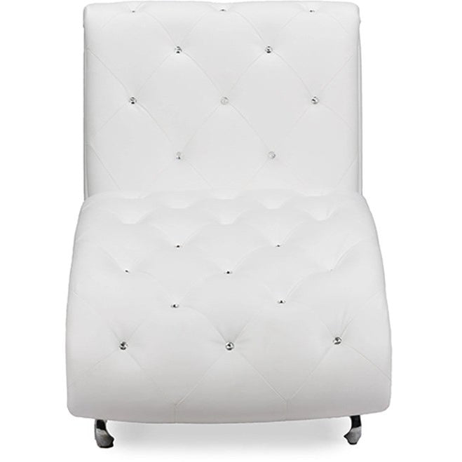 Baxton Studio Pease Contemporary White Faux Leather Upholstered Crystal Button Tufted Chaise Lounge Baxton Studio-chairs-Minimal And Modern - 1