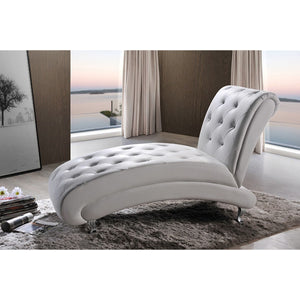 Baxton Studio Pease Contemporary White Faux Leather Upholstered Crystal Button Tufted Chaise Lounge Baxton Studio-chairs-Minimal And Modern - 5