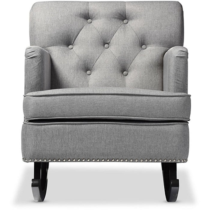 Baxton Studio Bethany Modern and Contemporary Grey Fabric Upholstered Button-tufted Rocking Chair Baxton Studio--Minimal And Modern - 1