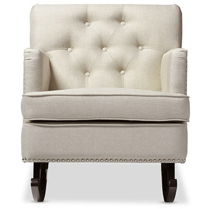 Baxton Studio Bethany Modern and Contemporary Light Beige Fabric Upholstered Button-tufted Rocking Chair Baxton Studio--Minimal And Modern - 1