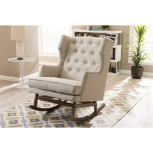 Baxton Studio Iona Mid-century Retro Modern Light Beige Fabric Upholstered Button-tufted Wingback Rocking Chair Baxton Studio--Minimal And Modern - 5