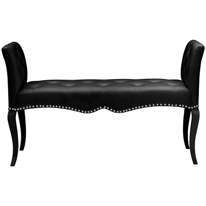 Baxton Studio Kristy Modern and Contemporary Black Faux Leather Classic Seating Bench Baxton Studio-benches-Minimal And Modern - 1