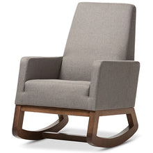 Baxton Studio Yashiya Mid-century Retro Modern Grey Fabric Upholstered Rocking Chair and Ottoman Set Baxton Studio--Minimal And Modern - 3