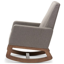 Baxton Studio Yashiya Mid-century Retro Modern Grey Fabric Upholstered Rocking Chair and Ottoman Set Baxton Studio--Minimal And Modern - 4