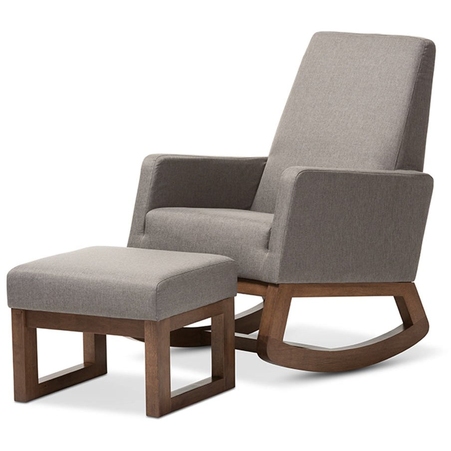 Baxton Studio Yashiya Mid-century Retro Modern Grey Fabric Upholstered Rocking Chair and Ottoman Set Baxton Studio--Minimal And Modern - 1