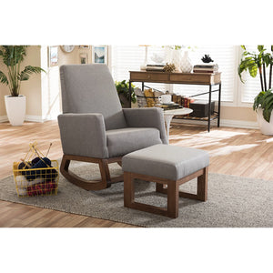 Baxton Studio Yashiya Mid-century Retro Modern Grey Fabric Upholstered Rocking Chair and Ottoman Set Baxton Studio--Minimal And Modern - 9