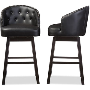 Baxton Studio Avril Modern and Contemporary Black Faux Leather Tufted Swivel Barstool with Nail heads Trim (Set of 2) Baxton Studio-Bar Stools-Minimal And Modern - 1