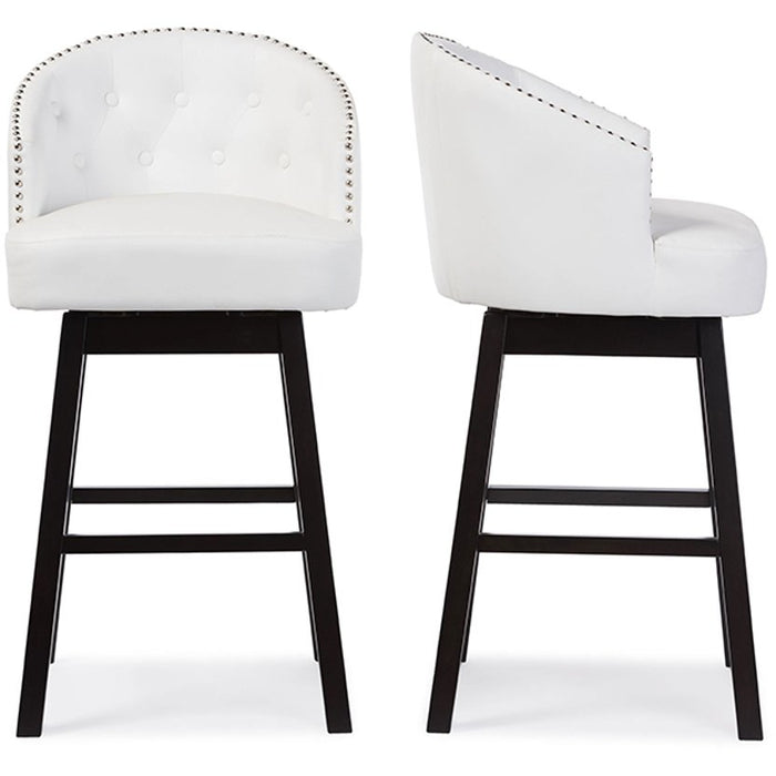 Baxton Studio Avril Modern and Contemporary White Faux Leather Tufted Swivel Barstool with Nail heads Trim (Set of 2) Baxton Studio-Bar Stools-Minimal And Modern - 1