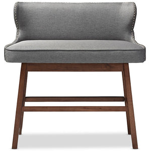 Baxton Studio Gradisca Modern and Contemporary Grey Fabric Button-tufted Upholstered Bar Bench Banquette Baxton Studio-Bar Stools-Minimal And Modern - 1