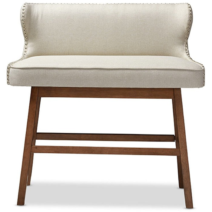 Baxton Studio Gradisca Modern and Contemporary Light Beige Fabric Button-tufted Upholstered Bar Bench Banquette Baxton Studio-Bar Stools-Minimal And Modern - 1