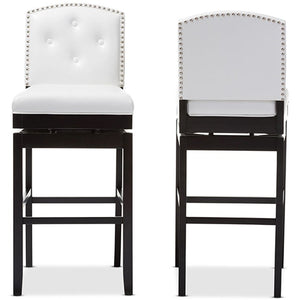 Baxton Studio Ginaro Modern and Contemporary White Faux Leather Button-tufted Upholstered Swivel Bar Stool (Set of 2) Baxton Studio-Bar Stools-Minimal And Modern - 1