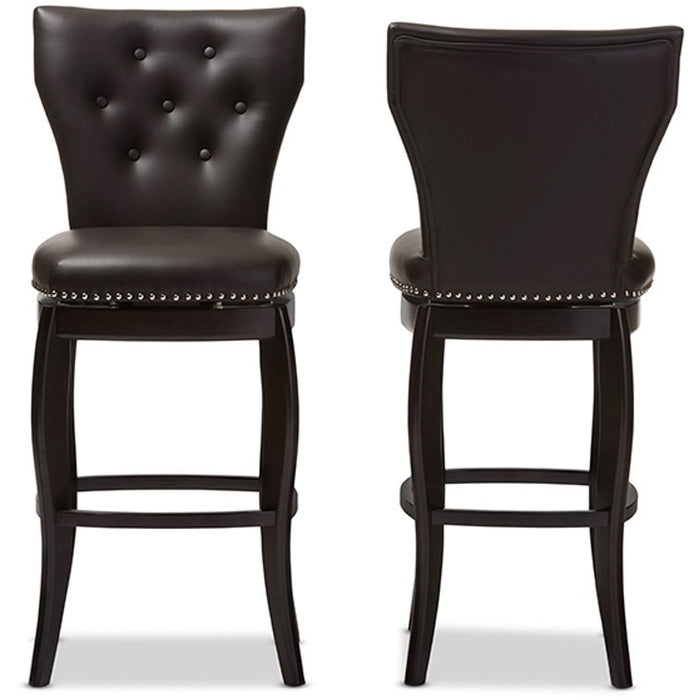 Baxton Studio Leonice Modern and Contemporary Dark Brown Faux Leather Upholstered Button-tufted 29-Inch Swivel Bar Stool (Set of 2) Baxton Studio-Bar Stools-Minimal And Modern - 1