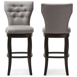 Baxton Studio Leonice Modern and Contemporary Grey Fabric Upholstered Button-tufted 29-Inch Swivel Bar Stool (Set of 2) Baxton Studio-Bar Stools-Minimal And Modern - 1