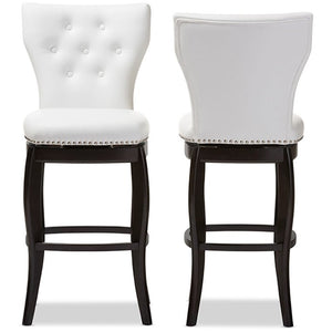 Baxton Studio Leonice Modern and Contemporary White Faux Leather Upholstered Button-tufted 29-Inch Swivel Bar Stool (Set of 2) Baxton Studio-Bar Stools-Minimal And Modern - 1