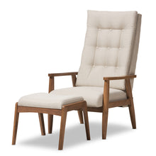Baxton Studio Roxy Mid-Century Modern Walnut Wood Finishing and Light Beige Fabric Upholstered Button-Tufted High-Back Lounge Chair and Ottoman Set Baxton Studio--Minimal And Modern - 2