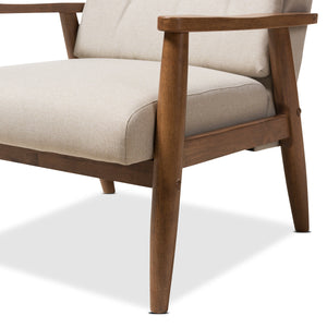 Baxton Studio Roxy Mid-Century Modern Walnut Wood Finishing and Light Beige Fabric Upholstered Button-Tufted High-Back Lounge Chair and Ottoman Set Baxton Studio--Minimal And Modern - 5