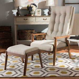 Baxton Studio Roxy Mid-Century Modern Walnut Wood Finishing and Light Beige Fabric Upholstered Button-Tufted High-Back Lounge Chair and Ottoman Set Baxton Studio--Minimal And Modern - 1