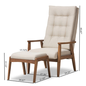 Baxton Studio Roxy Mid-Century Modern Walnut Wood Finishing and Light Beige Fabric Upholstered Button-Tufted High-Back Lounge Chair and Ottoman Set Baxton Studio--Minimal And Modern - 7