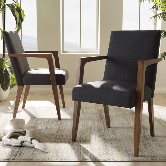 Baxton Studio Andrea Mid-Century Modern Dark Grey Upholstered Wooden Armchair (Set of 2) Baxton Studio-chairs-Minimal And Modern - 1