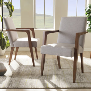 Baxton Studio Andrea Mid-Century Modern Greyish Beige Upholstered Wooden Armchair (Set of 2) Baxton Studio-chairs-Minimal And Modern - 1