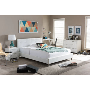 Baxton Studio Barbara White Modern Bed with Crystal Button Tufting (Queen Size) Baxton Studio-beds-Minimal And Modern - 1