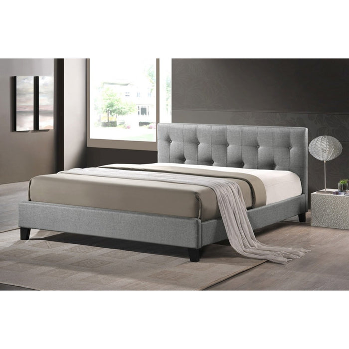 Baxton Studio Annette Gray Linen Modern Bed with Upholstered Headboard - Queen Size Baxton Studio-beds-Minimal And Modern - 1