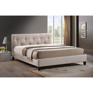 Baxton Studio Annette Light Beige Linen Modern Bed with Upholstered Headboard - Queen Size Baxton Studio-beds-Minimal And Modern - 1