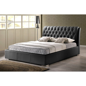Baxton Studio Bianca Black Modern Bed with Tufted Headboard (Queen Size) Baxton Studio-beds-Minimal And Modern - 1