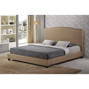Baxton Studio Aisling Dark Beige Fabric Platform Bed – Queen Size Baxton Studio-beds-Minimal And Modern - 1
