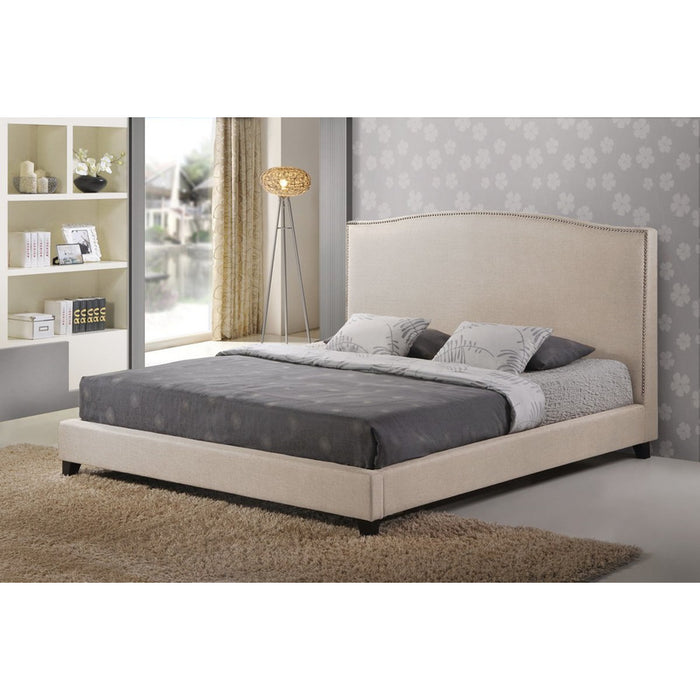 Baxton Studio Aisling Light Beige Fabric Platform Bed – King Size Baxton Studio-beds-Minimal And Modern - 1