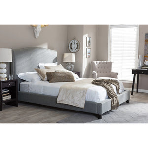 Baxton Studio Aisling Gray Fabric Platform Bed – King Size Baxton Studio-beds-Minimal And Modern - 1
