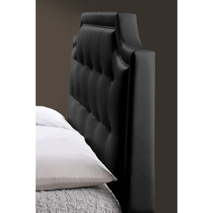Baxton Studio Carlotta Black Modern Bed with Upholstered Headboard - King Size Baxton Studio-beds-Minimal And Modern - 5