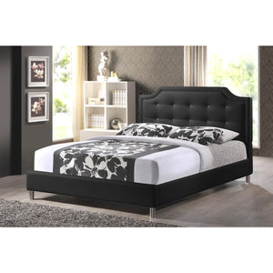 Baxton Studio Carlotta Black Modern Bed with Upholstered Headboard - Queen Size Baxton Studio-beds-Minimal And Modern - 1