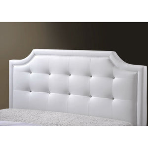 Baxton Studio Carlotta White Modern Bed with Upholstered Headboard - Full Size Baxton Studio-beds-Minimal And Modern - 2