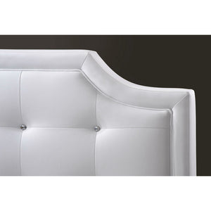 Baxton Studio Carlotta White Modern Bed with Upholstered Headboard - Full Size Baxton Studio-beds-Minimal And Modern - 3