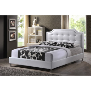 Baxton Studio Carlotta White Modern Bed with Upholstered Headboard - Queen Size Baxton Studio-beds-Minimal And Modern - 1