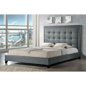 Baxton Studio Hirst Gray Platform Bed- King Size With Bench Baxton Studio-beds-Minimal And Modern - 1