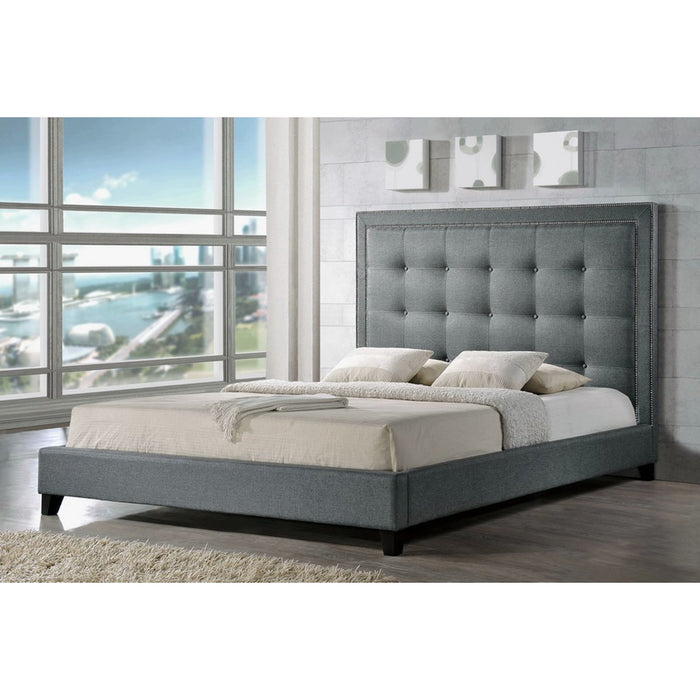 Baxton Studio Hirst Gray Platform Bed- Queen Size With Bench Baxton Studio-beds-Minimal And Modern - 1