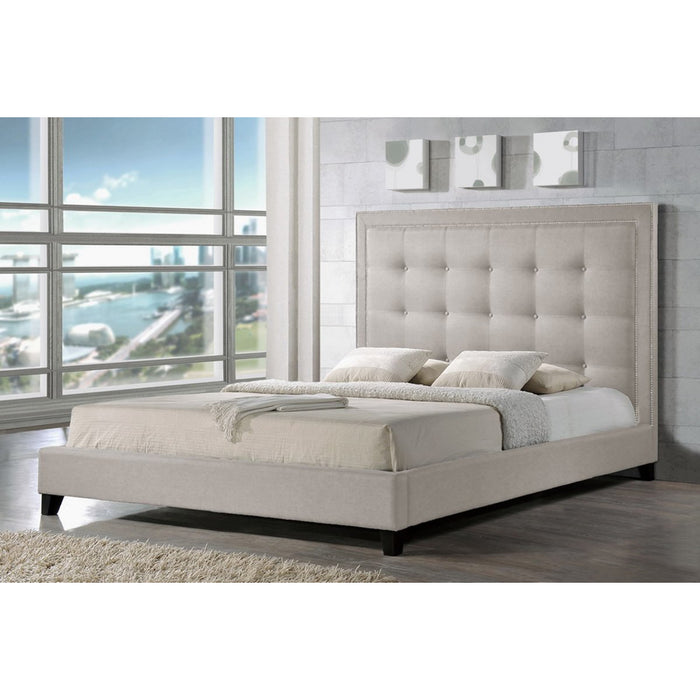 Baxton Studio Hirst Light Beige Platform Bed- King Size With Bench Baxton Studio-beds-Minimal And Modern - 1