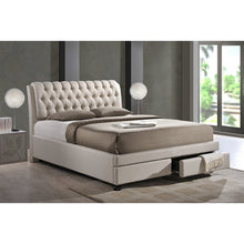 Baxton Studio Ainge Contemporary Button-Tufted Light Beige Fabric Upholstered Storage King-Size Bed with 2-drawer Baxton Studio-beds-Minimal And Modern - 5